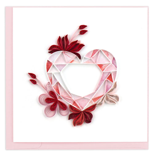 Valentine's Day card featuring a quilled design of a gemstone heart with floral accents