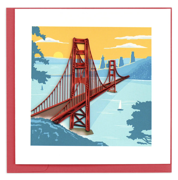 Greeting card featuring a quilled design of the Golden Gate Bridge