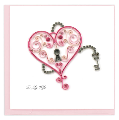 Birthday card featuring a quilled design of a lock in the shape of a heart with accompanying key