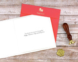 Red envelope, insert with printed sentiment, and wax seal that accompany the greeting card