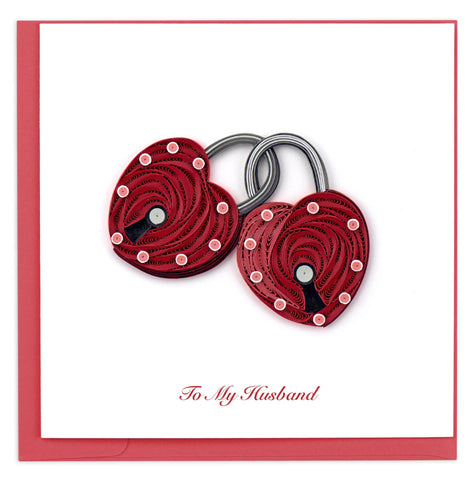 Valentine's Day card featuring a quilled design of two heart shaped locks which are locked together