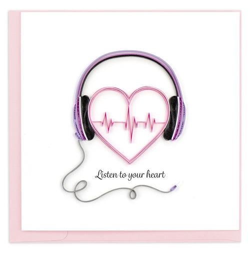 Valentine's Day card featuring a quilled design of a heart with headphones