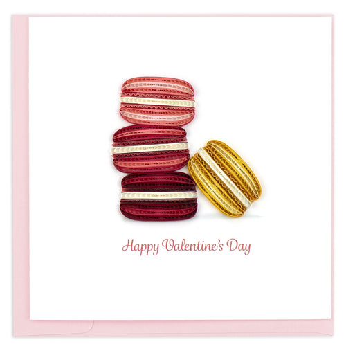 Valentine's Day card featuring a quilled design of red & pink colored macarons