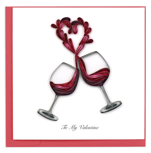 Valentine's Day card featuring a quilled design of two wine glasses toasting and spilling wine that forms the shape of a heart