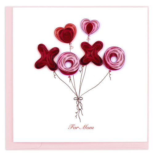 Valentine's Day card featuring a quilled design of balloons in the shape of X's, O's, and hearts