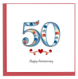 Quilled 50th anniversary Card