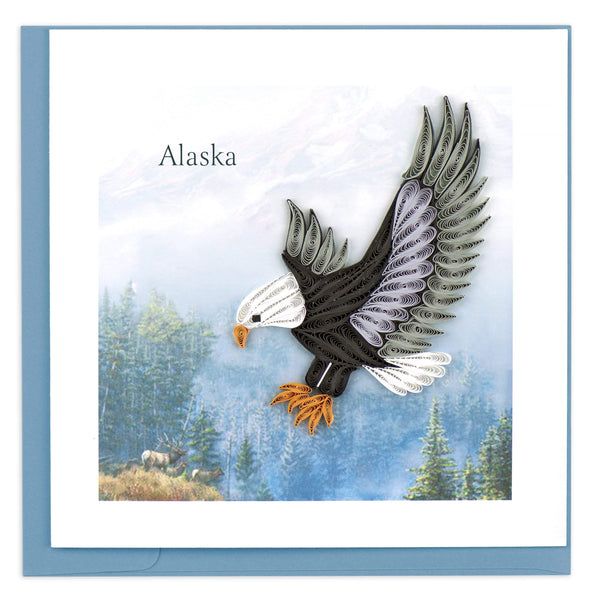 Greeting card featuring a quilled design of an eagle