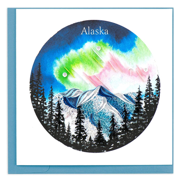 Greeting card featuring a quilled design of the northern lights