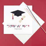 "Quilled Braille ""Congrats Grad"" Card"