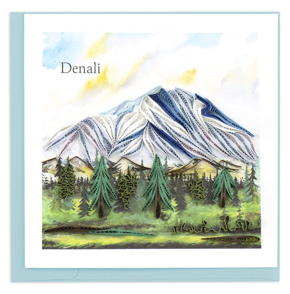 Blank greeting card featuring a quilled design of Denali Mountain