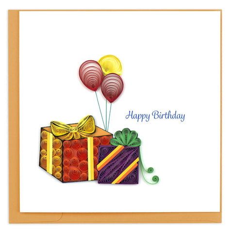Orange and purple wrapped gifts accompanied by red and yellow balloons. Reads Happy Birthday to the right of the design.