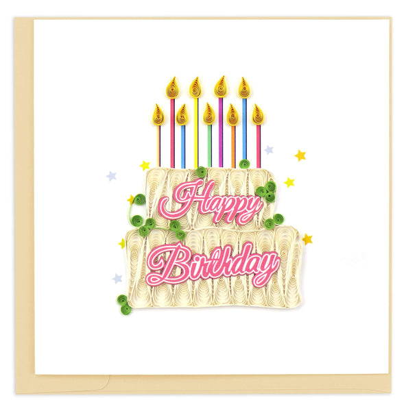 Quilled Happy Birthday Cake Card