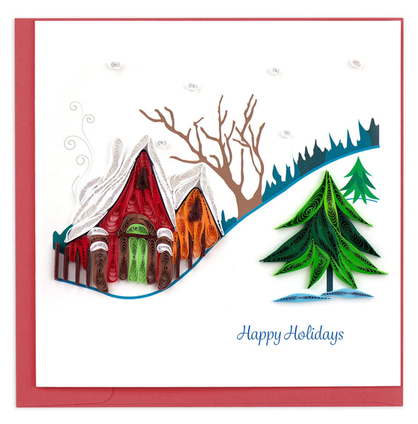 Quilled Holiday Snowy Village Greeting Card