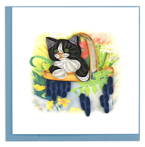 Quilled Kitten In A Basket Card
