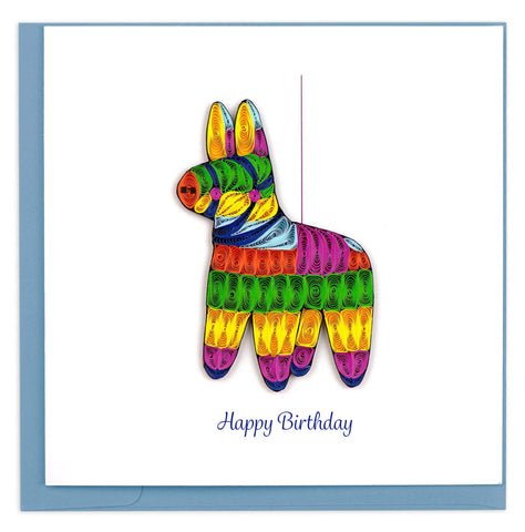 A cute donkey pinata in rainbow colors and reads Happy Birthday underneath.