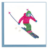 Blank Quilled Card of a skier in a neon pink jacket skiing downhill