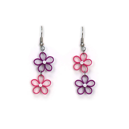 EAR051 | Bright Pink Flower Drop