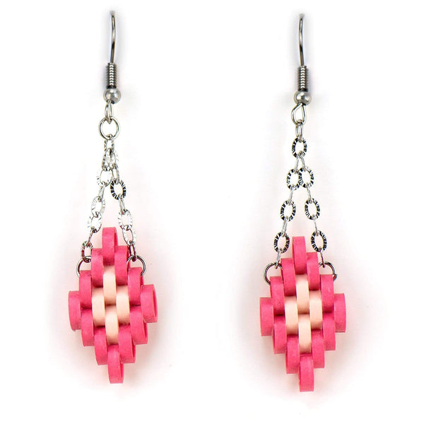 Watermelon Pixel Quilled Earrings