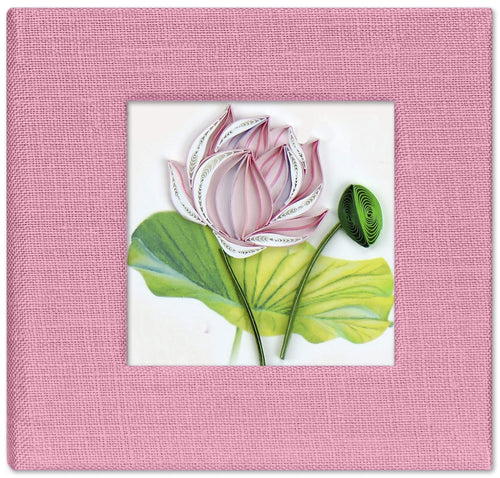 Sticky note pad cover featuring a quilled design of a pink lotus flower