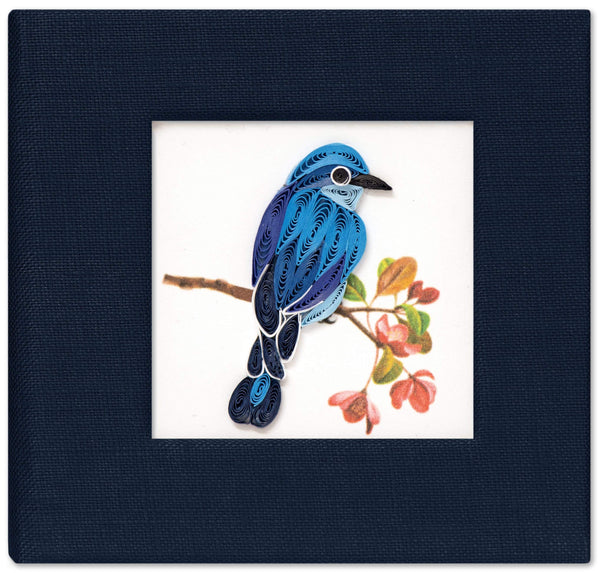 Sticky note pad cover featuring a quilled design of a bluebird