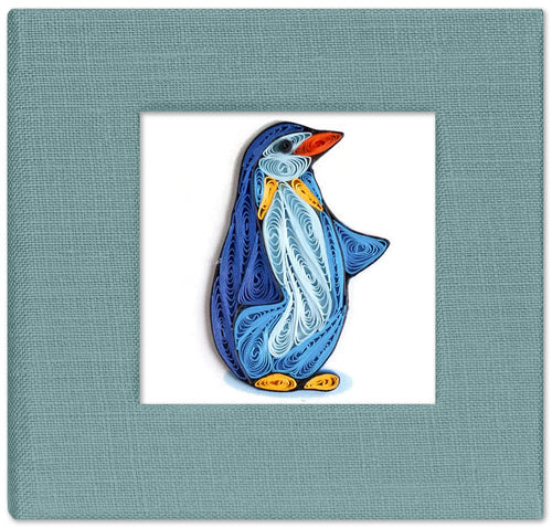 Sticky note pad cover featuring a quilled design of blue penguin
