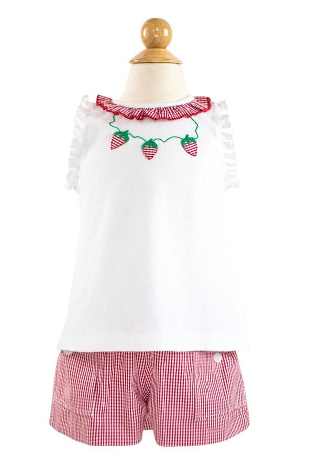Strawberries Applique Shirt - Red Gingham Fabric