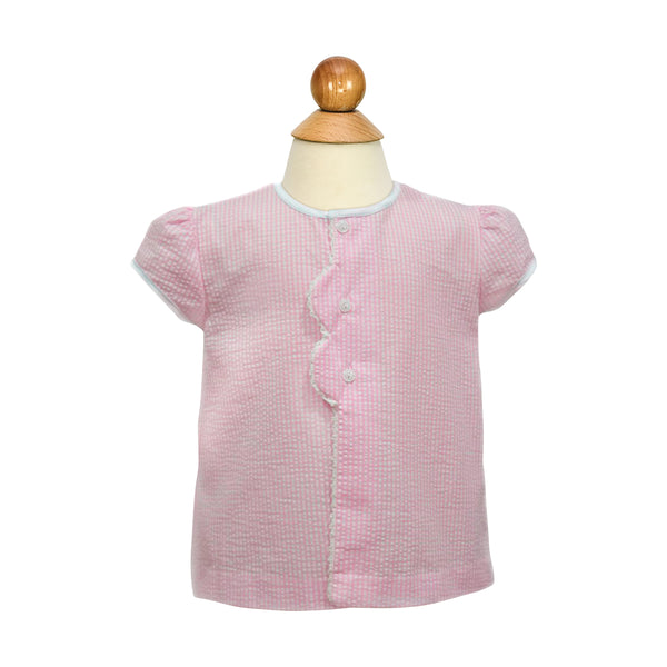 Smocked Flowers Blouse- Pink Seersucker Gingham