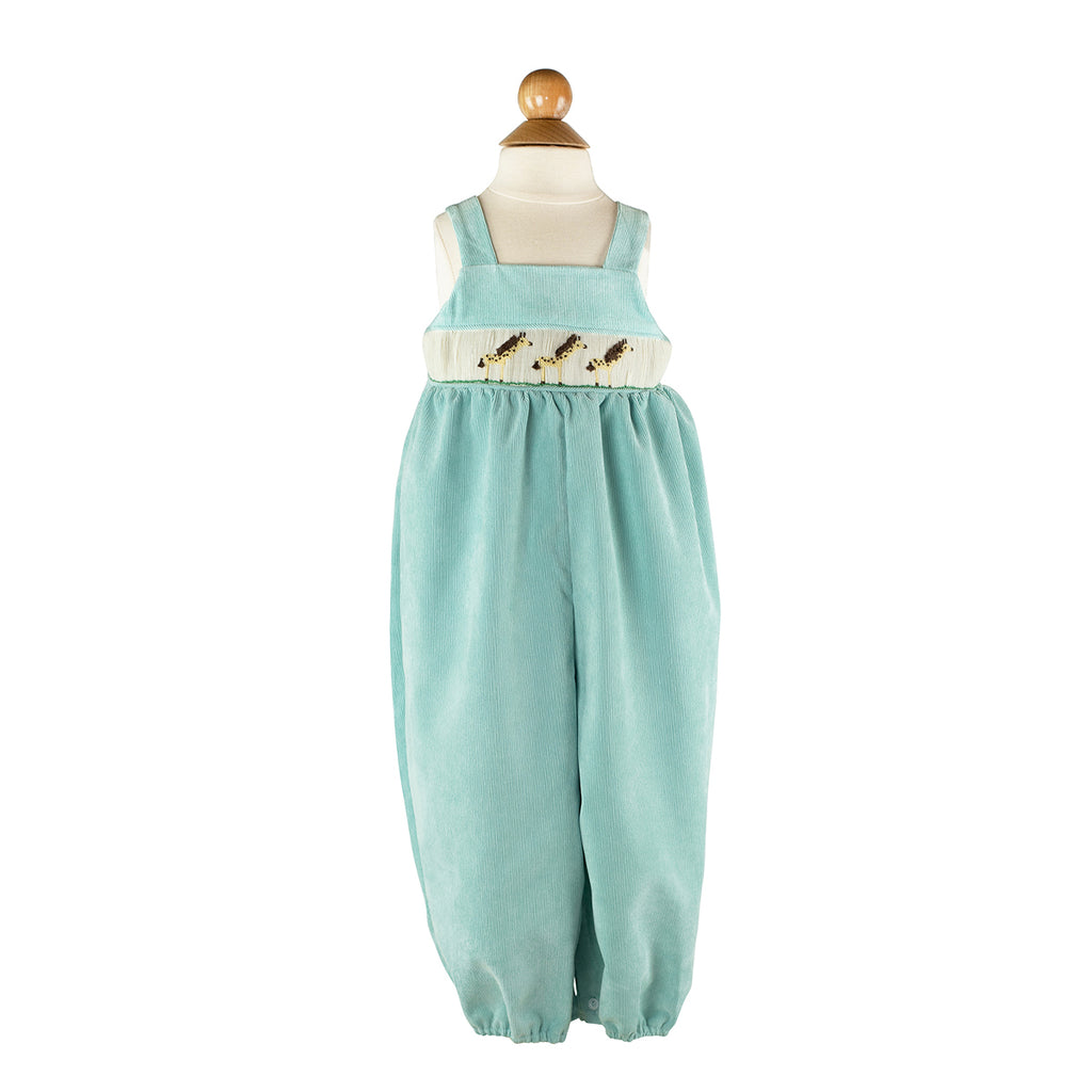 Boy Smocked Giraffe Bubble in Aqua Corduroy-AKF