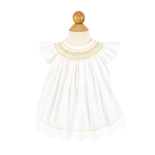 Betsy Blouse White Cotton with Sunshine Smocking