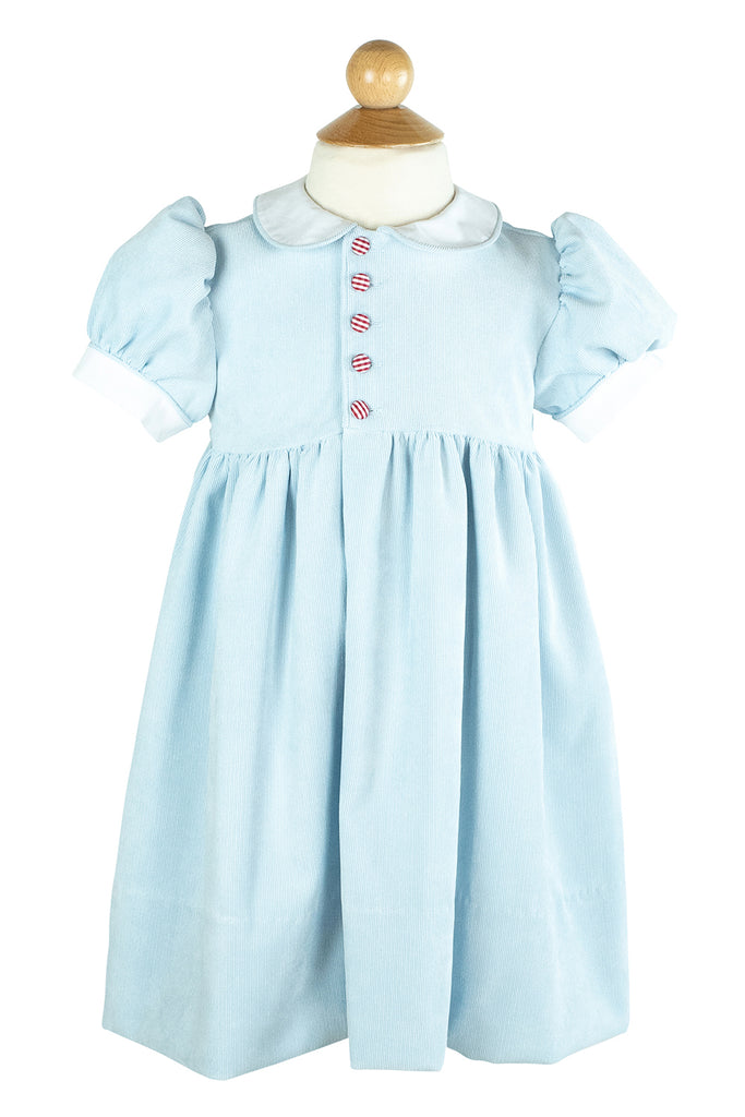 Side Button Dress in Light Blue Corduroy- Sample Size 4T