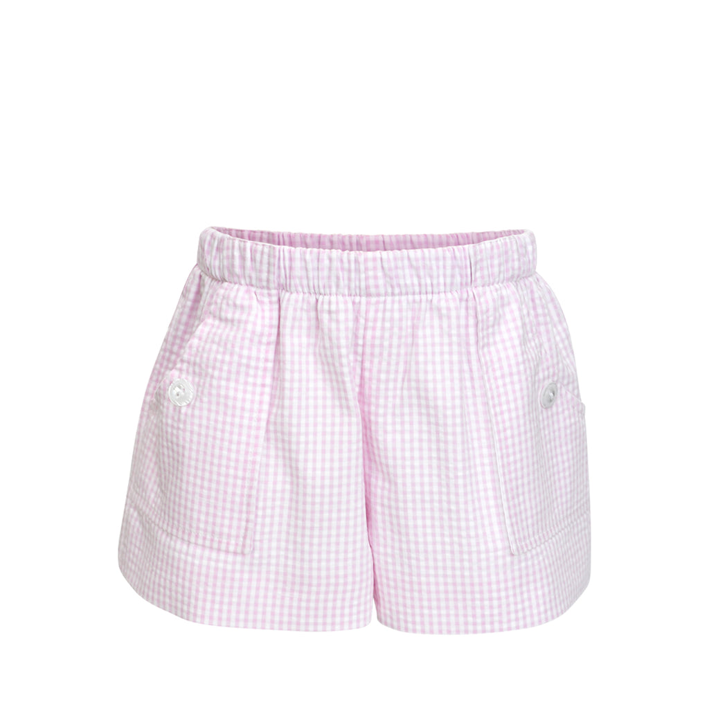 Emme Shorts- Pink Seersucker Gingham