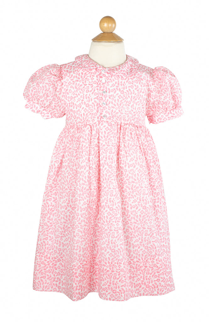 Side Button Dress in Pink Swiss Floral- Sample Size 6