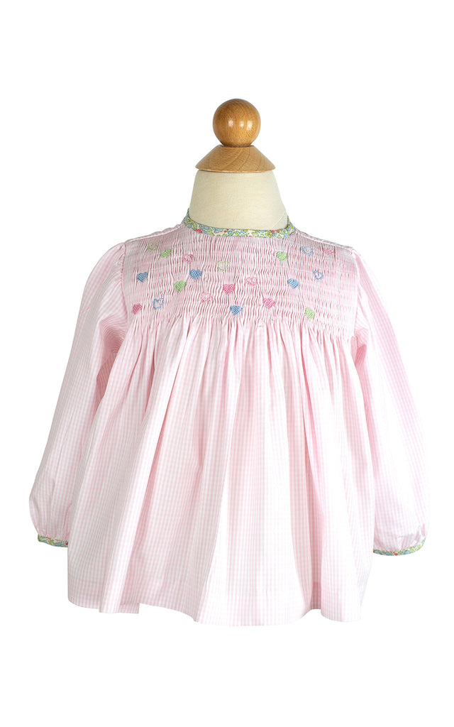Smocked Hearts Blouse- Sample Size 18m