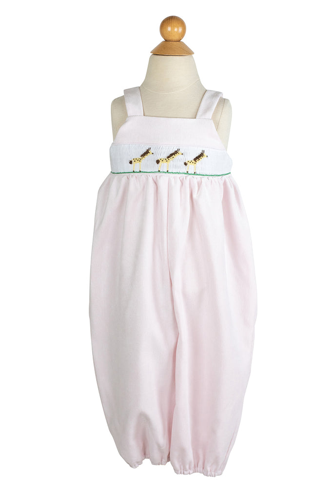 Girl Smocked Giraffe Bubble