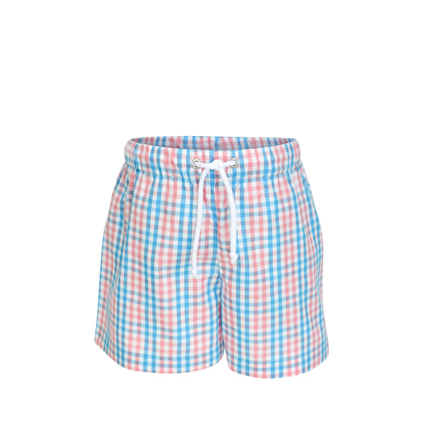 Swim Trunks - Coral & Turquoise Plaid
