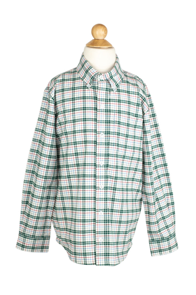 Button Down Shirt in Green/Blue/Red Check- Sample Size 8