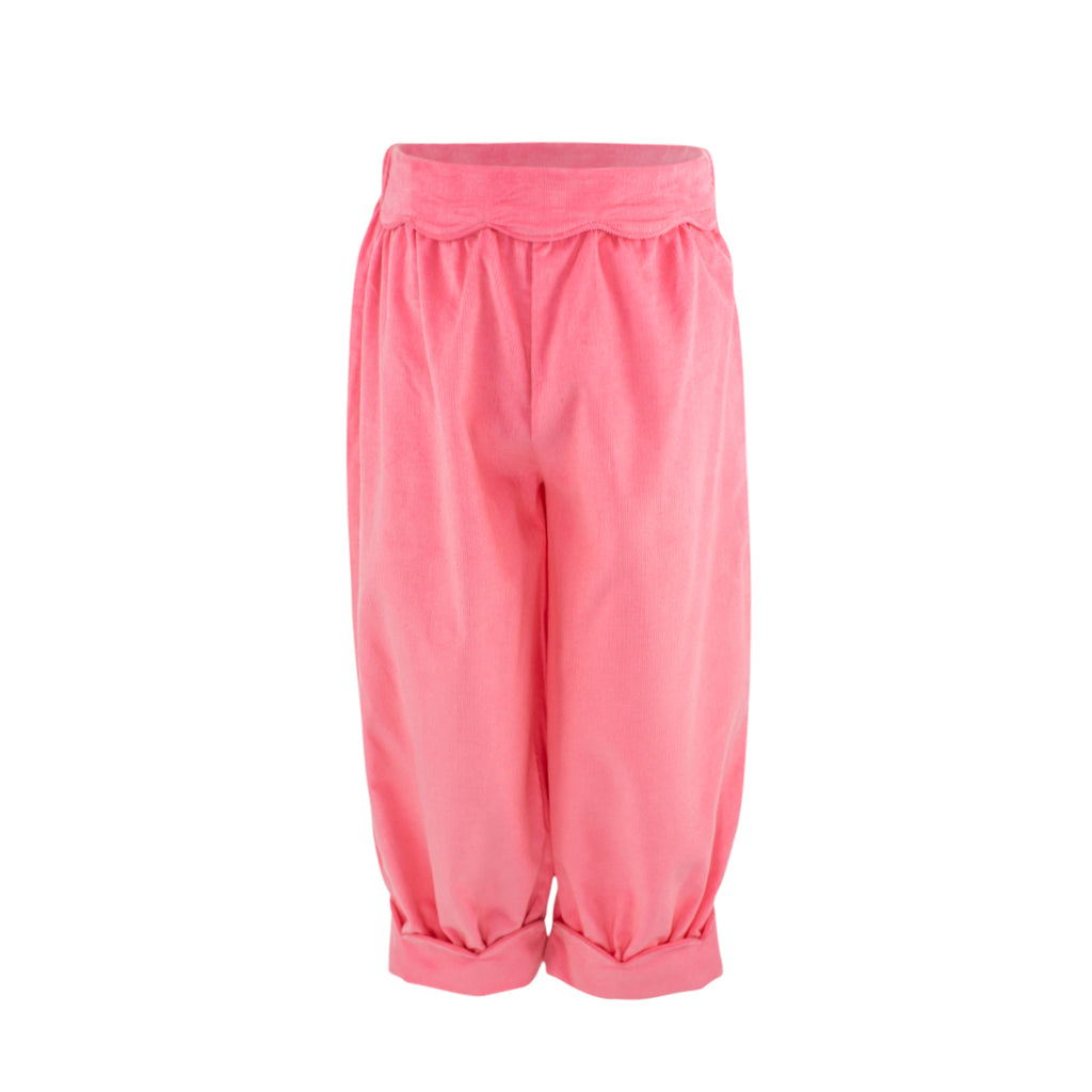 Scalloped Bloomer Pant- Living Coral Corduroy Sample Size 3T
