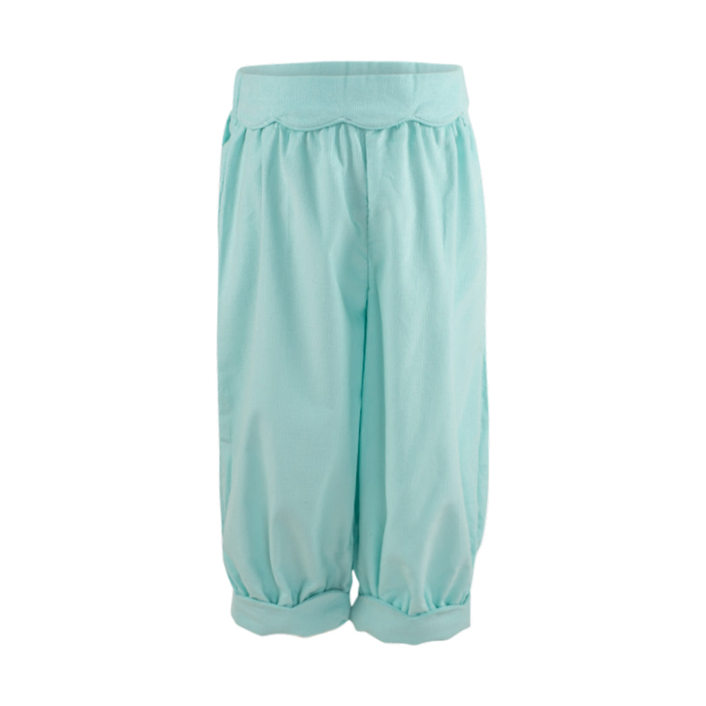 Scalloped Bloomer Pant- Aqua Corduroy Sample Size 2T