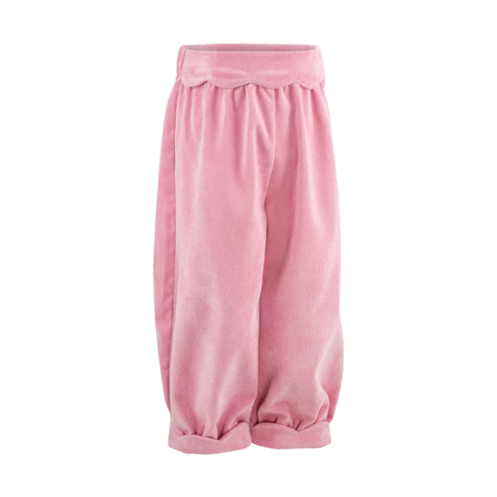 Scalloped Bloomer Pant - Pink Poppy Non Wrinkle Corduroy Sample Size 3T
