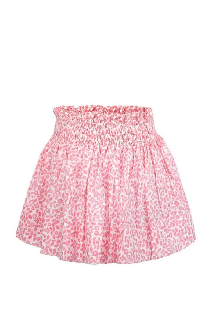 Smocked Skirt in Pink Swiss Floral