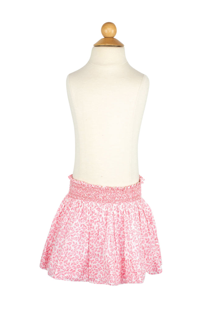 Smocked Skirt in Pink Swiss Floral- Sample Size 4T