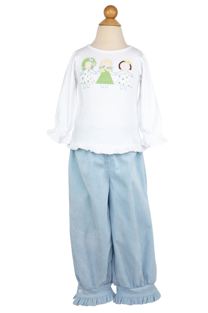Camille Pants in Light Blue Corduroy- Sample Size 4T