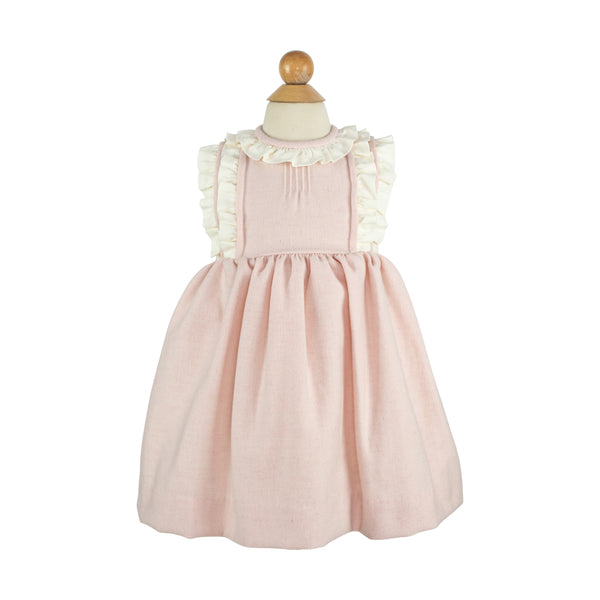 Kathryn Dress- Pink Featherstitch Wool-AKF