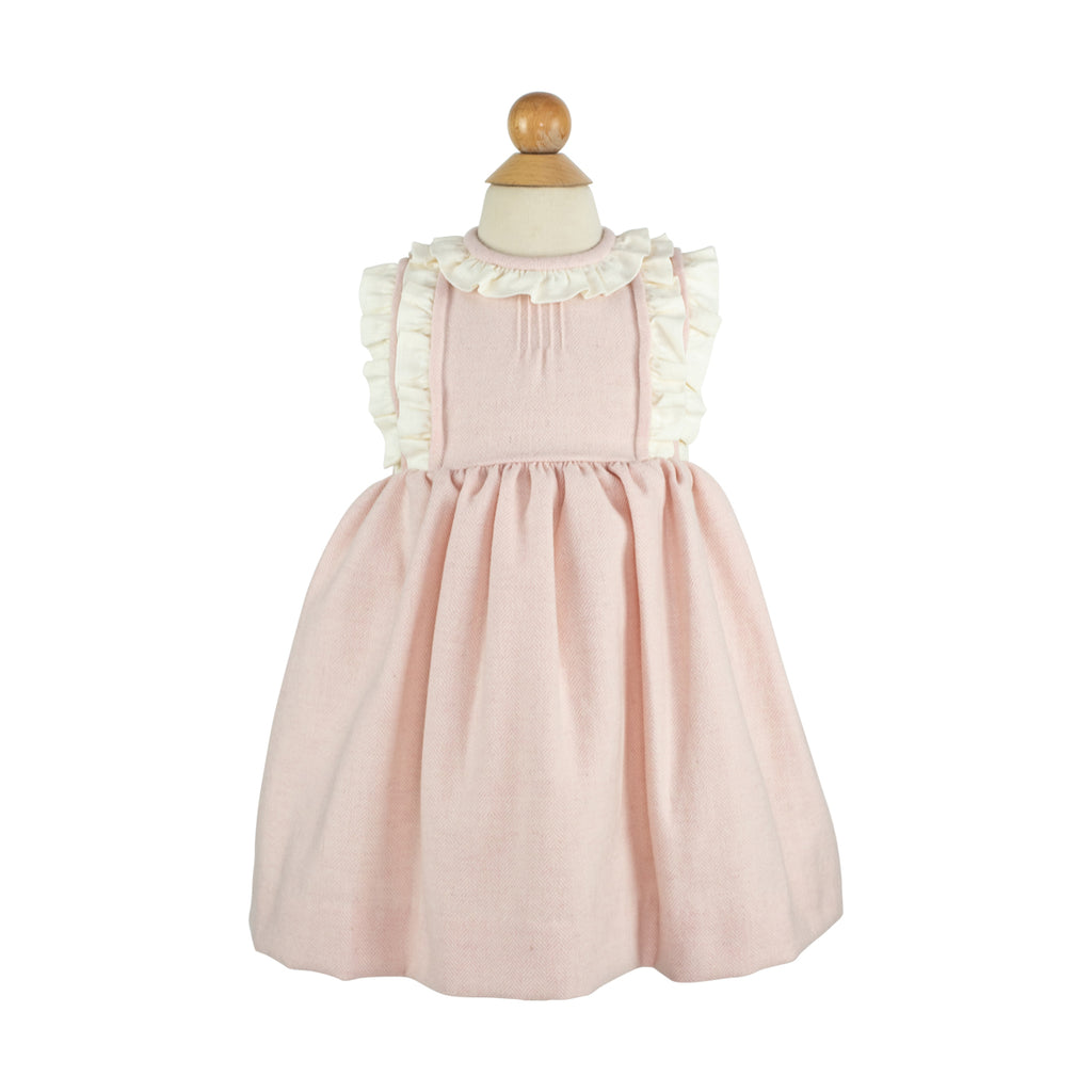 Kathryn Dress- Pink Featherstitch Wool