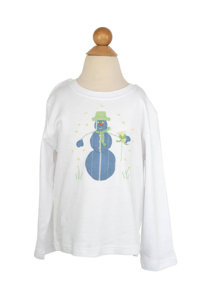 Boy Snowman Applique Shirt- Sample Size 4T