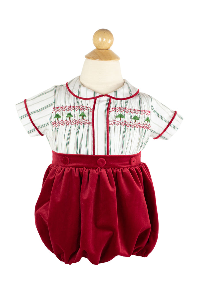 Smocked Christmas Tree Button On- Sample Size 2T