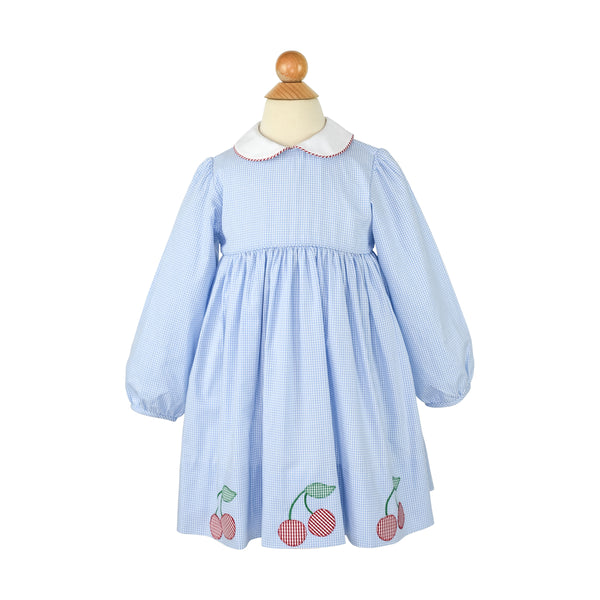 Appliqued Cherry Dress- Blue Gingham
