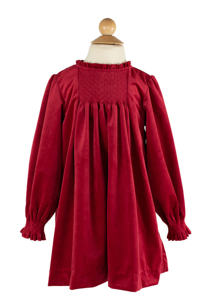 Smocked Velvet Dress in Red