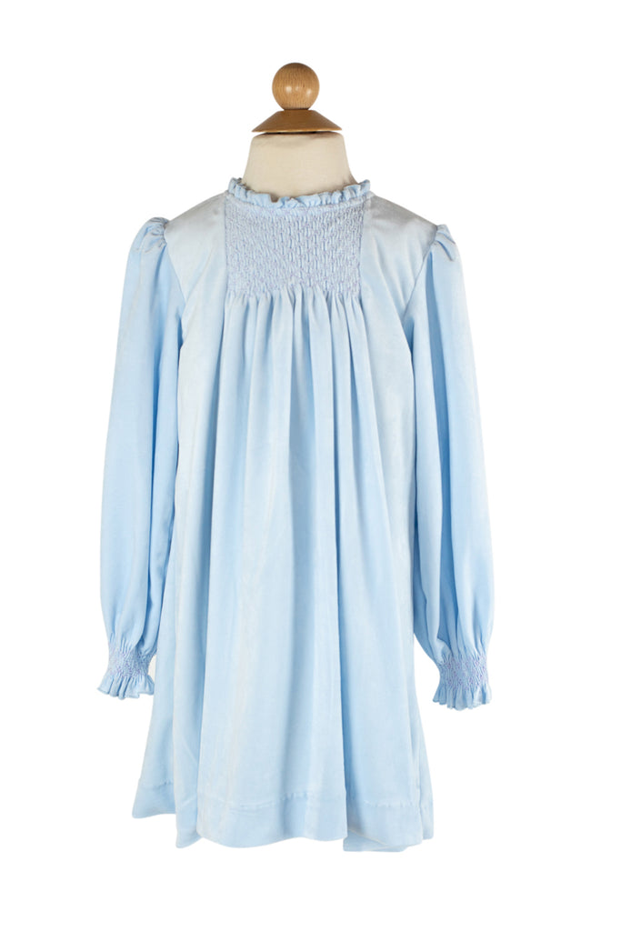 Smocked Velvet Dress in Light Blue- Sample Size 8
