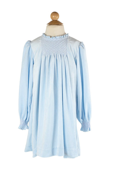 Smocked Velvet Dress in Light Blue